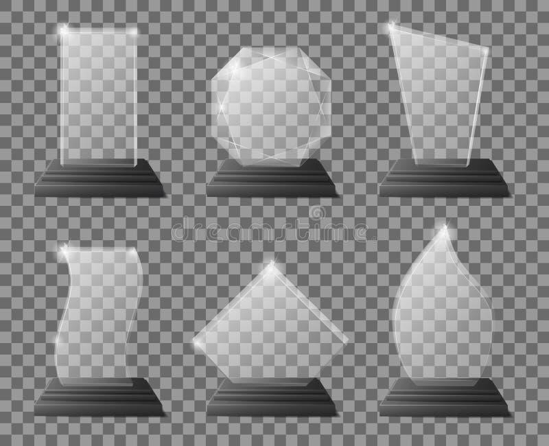 Premios transparentes de cristal del trofeo con el soporte oscuro Los certificados de cristal claros del premio, metas combinan l libre illustration