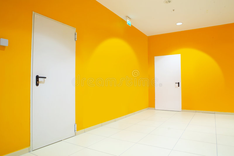 Premise. The image of a premise with orange walls and doors royalty free stock image