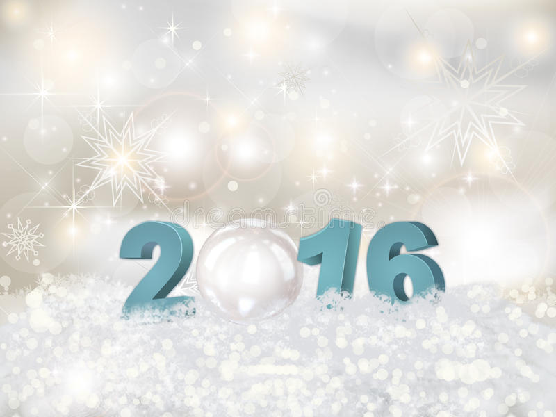 The premise of the New Year 2016 in 3D. stock illustration