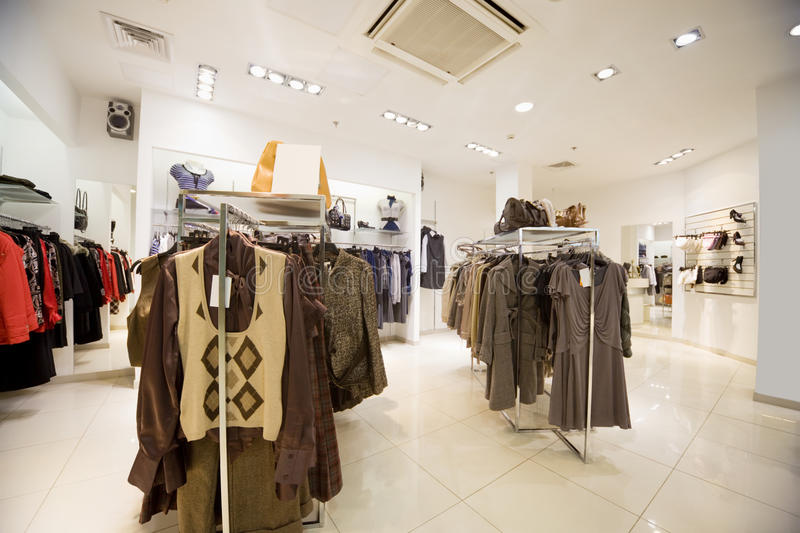 Premise of shop of clothes, Autumn collection. Premise of modern shop of clothes, Autumn collection royalty free stock images