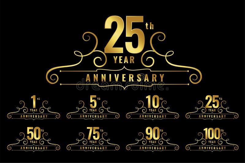 Premium anniversary logotype emblem set vector illustration