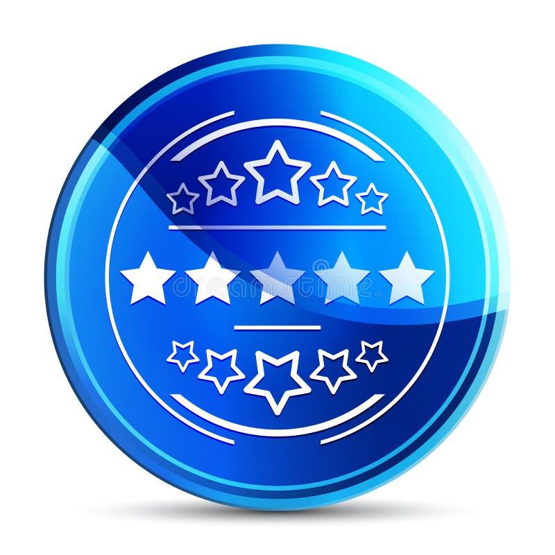 Premium badge icon glassy vibrant sky blue round button illustration stock photography
