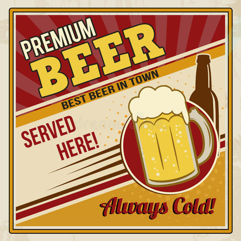 Premium beer retro poster royalty free illustration