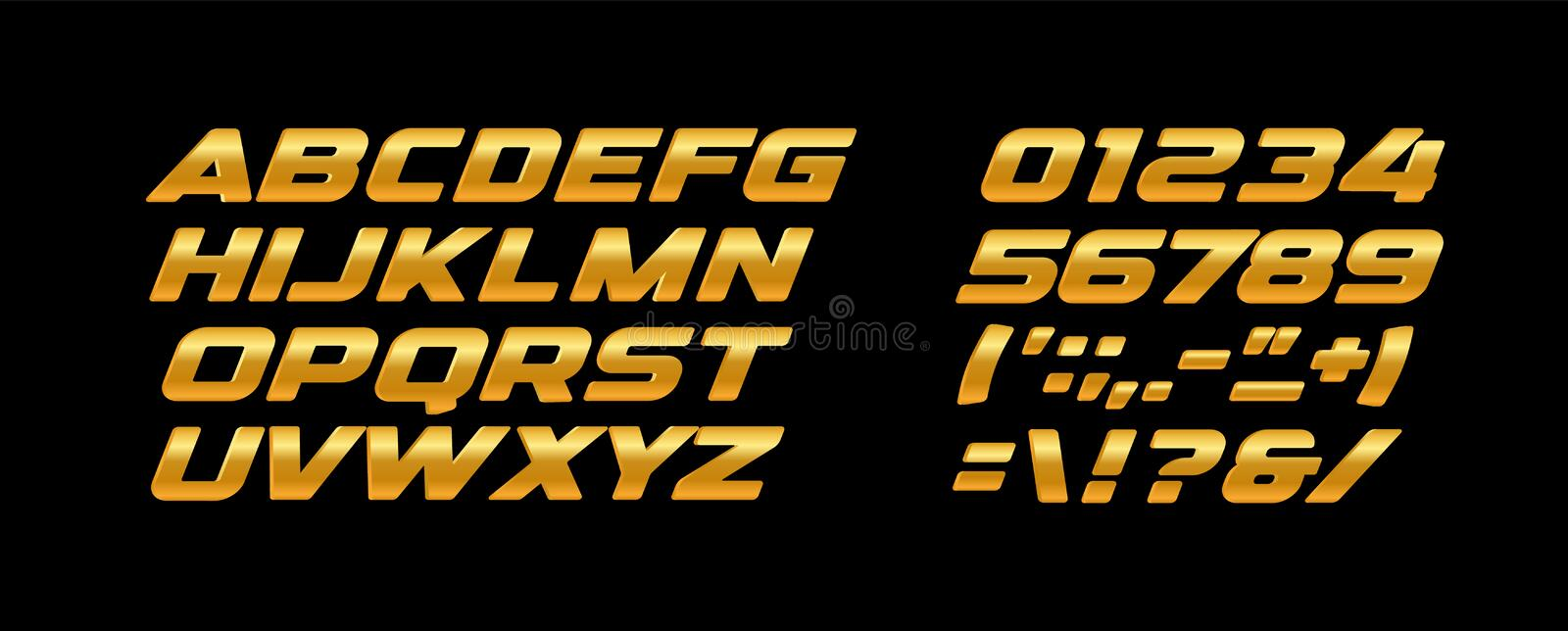 Premium bold letters and numbers set. Golden texture, yellow and orange color, gold metal style vector latin alphabet. Typography design royalty free illustration