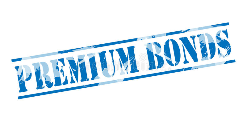 Premium bonds blue stamp stock illustration
