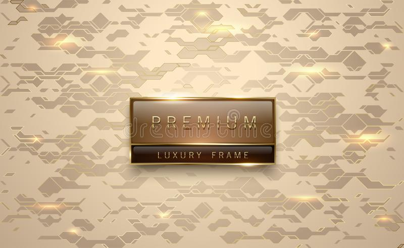 Premium brown label with golden frame on metallic gold geometric background golden lines. Vip luxury logo template. Vector stock illustration