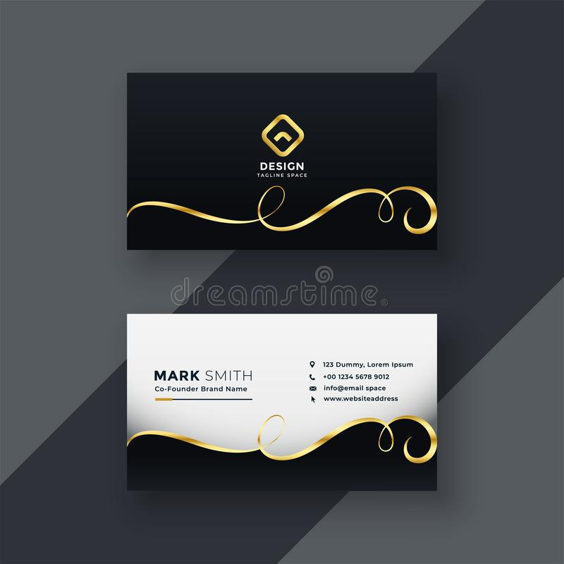 Premium business card design in dark theme vector illustration