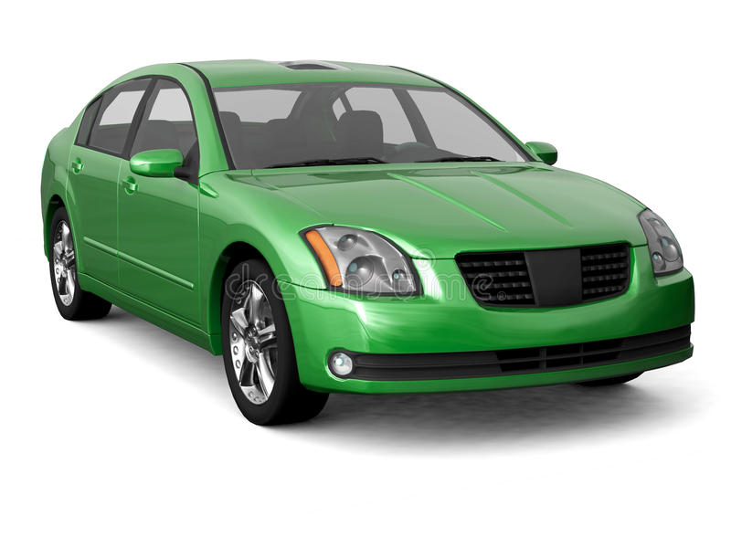 Premium class green car front view stock photo