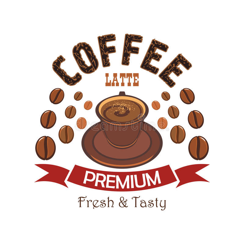 Premium coffee badge with cup of latte stock illustration
