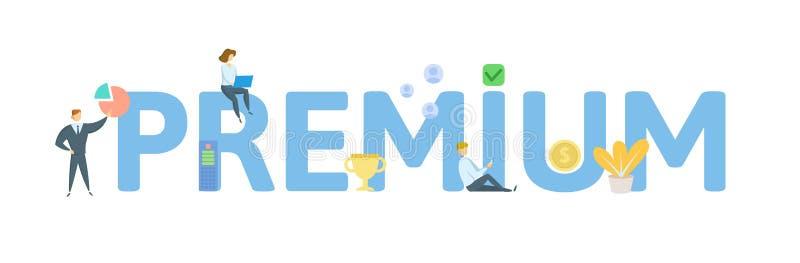 premium Concept avec des personnes, des lettres et des ic?nes Illustration plate de vecteur D'isolement sur le fond blanc illustration de vecteur