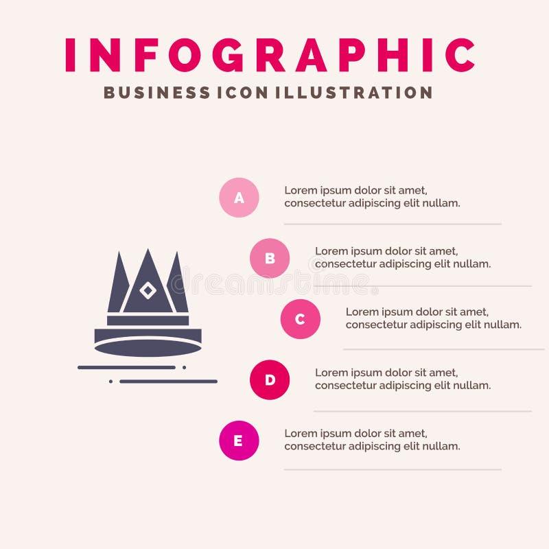 Premium, Contenu, éducation, marketing Infographie d'icônes solides 5 Étapes Présentation Contexte illustration stock
