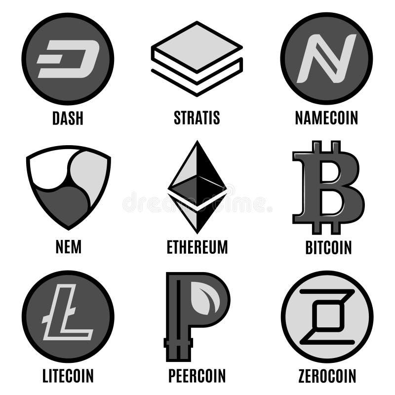 Premium Cripto Currency Logos Set royalty free illustration