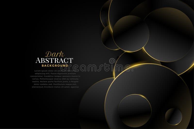Premium dark circles with golden edges background stock illustration