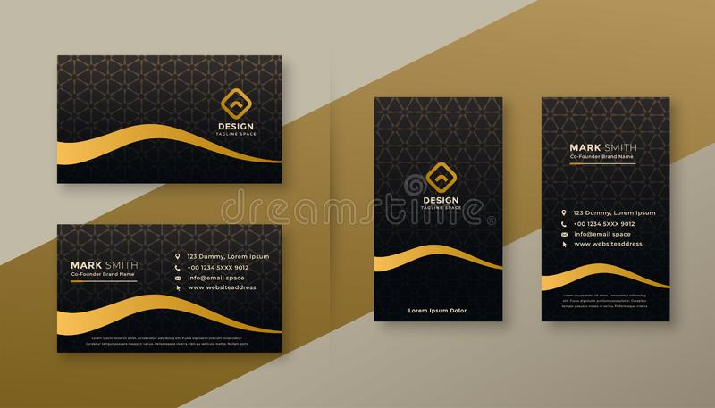 Premium dark golden business card designs set vector illustration