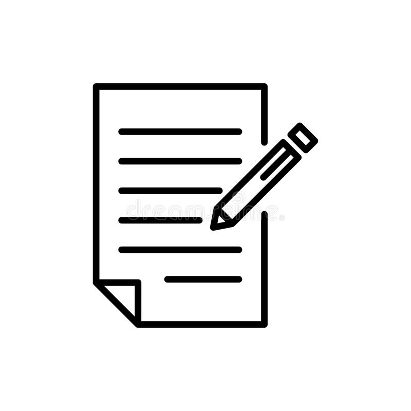 Premium document icon or logo in line style. High quality sign and symbol on a white background. Vector outline pictogram for infographic, web design and app stock photography