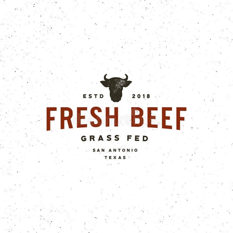 Premium fresh beef label. retro styled meat shop emblem. vector illustration vector illustration