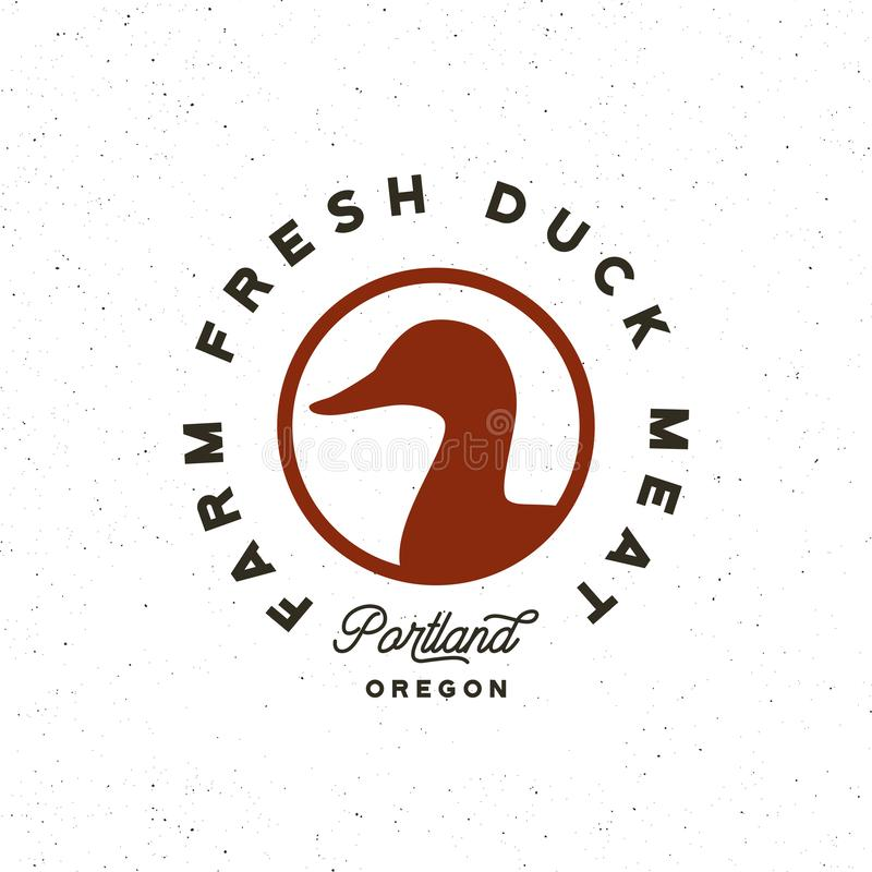 Premium fresh duck meat label. retro styled meat shop emblem. vector illustration royalty free illustration
