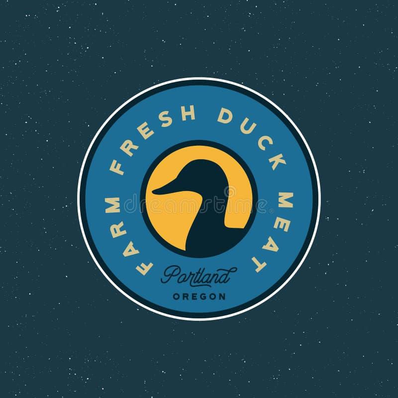 Premium fresh duck meat label. retro styled meat shop emblem. vector illustration royalty free illustration