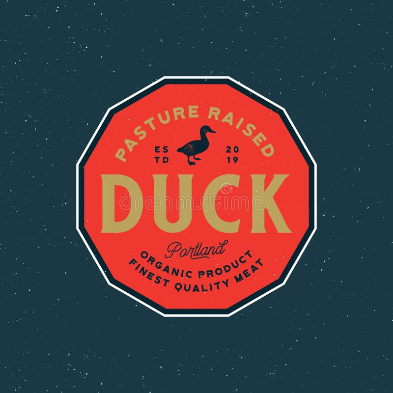 Premium fresh duck meat label. retro styled meat shop emblem. vector illustration stock illustration