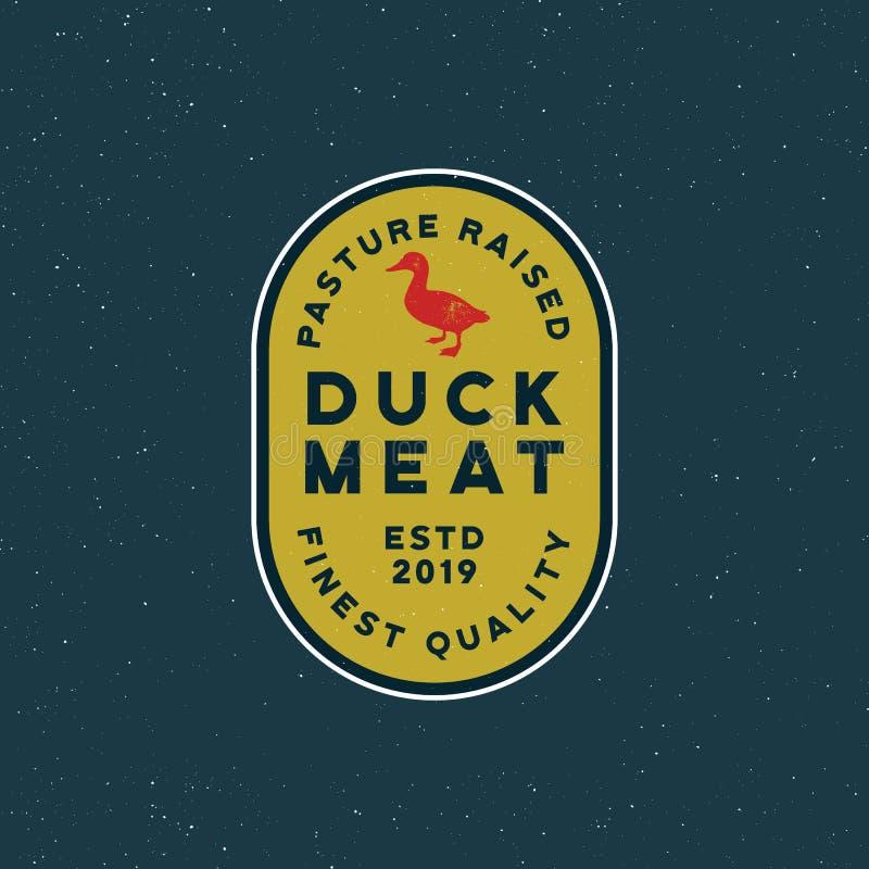 Premium fresh duck meat label. retro styled meat shop emblem. vector illustration vector illustration