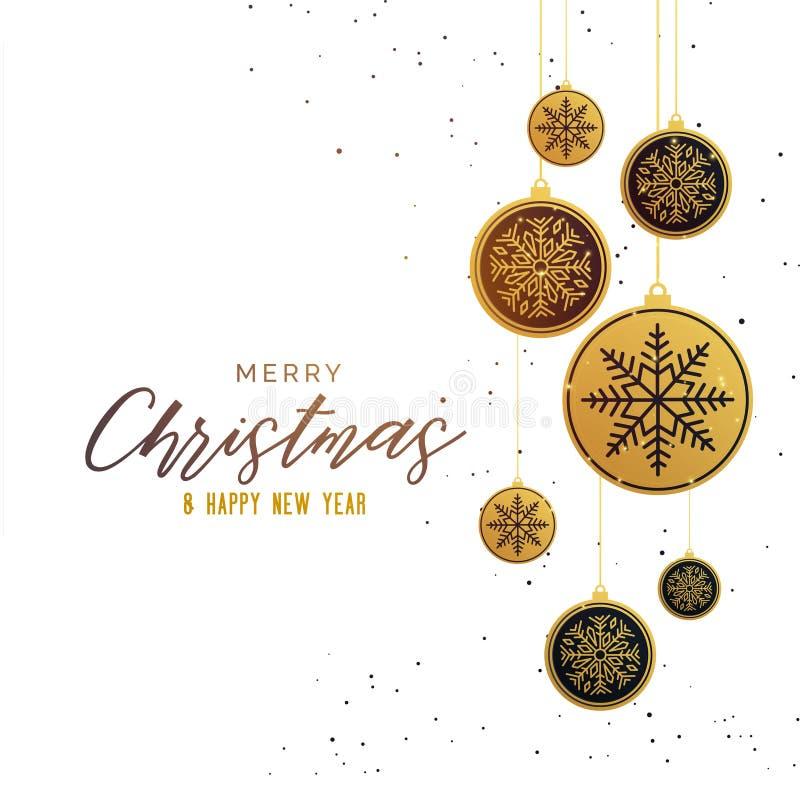 Premium golden christmas balls seasonal greeting background vector illustration