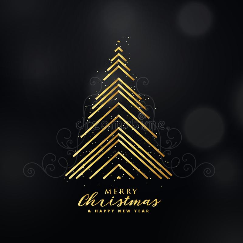 Premium golden christmas tree design made with lines background royalty free illustration