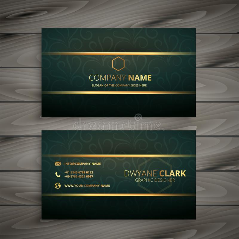 Premium golden green vintage style business card royalty free illustration