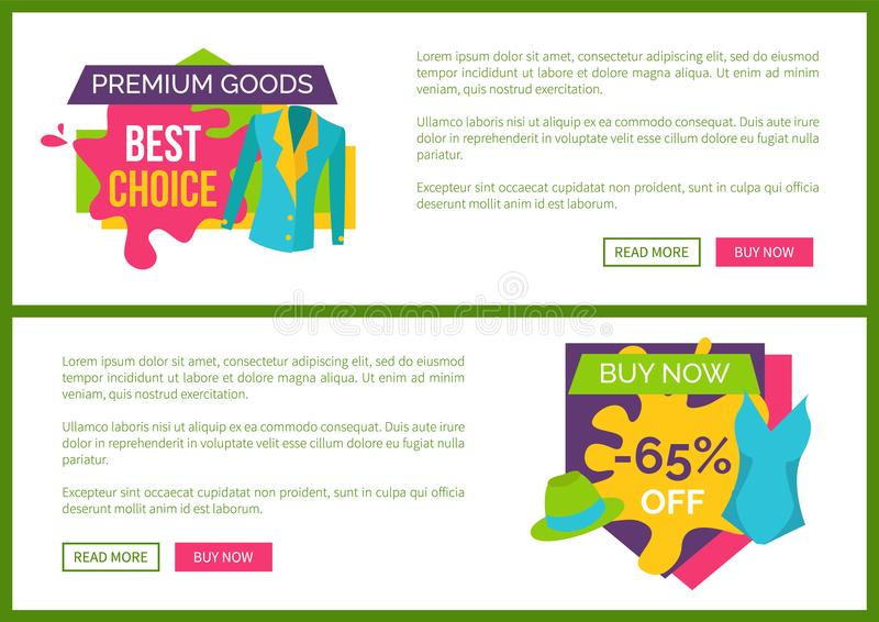 Premium Goods Best Choice Buy Now 65 Off Set. Of web posters with summer mode apparels, sale on new collection for women vector online banners royalty free illustration
