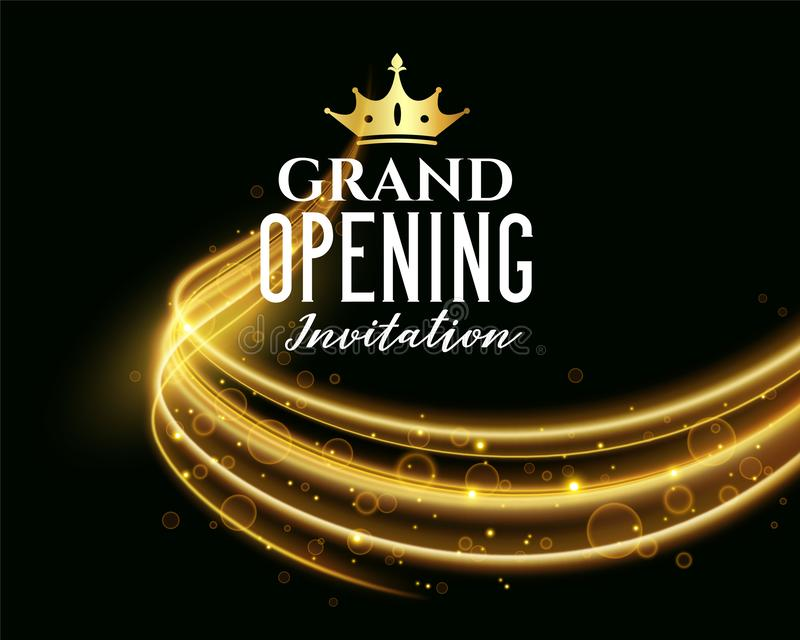 Premium grand opening dark invitation banner vector illustration