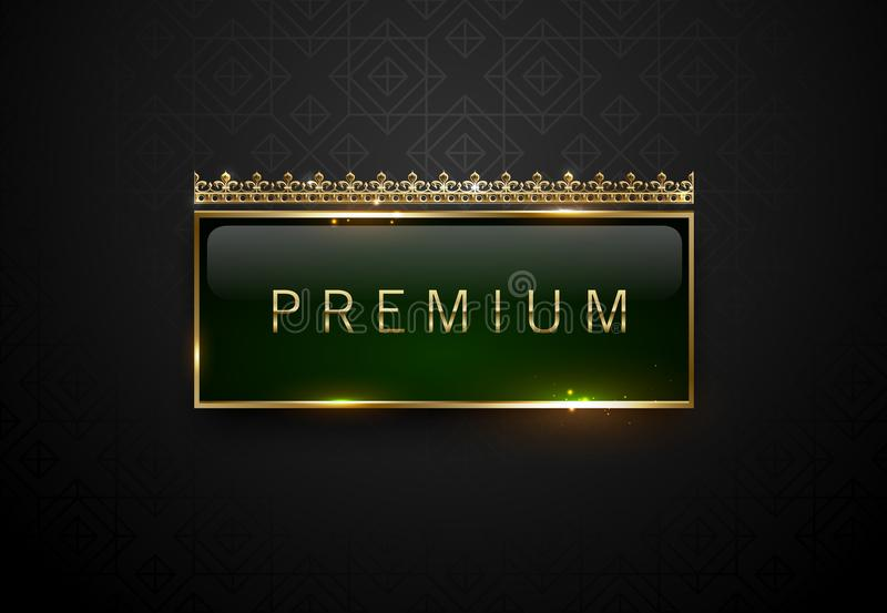 Premium green label with golden frame sparks and crown on black geometric pattern background. Dark luxury logo template. Vector stock illustration
