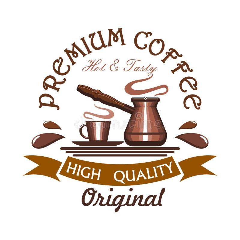 Premium hot and tasty coffee emblem stock illustration
