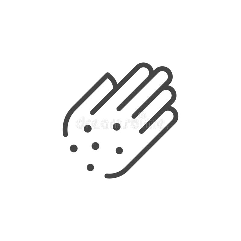 Free Premium Icon Of Hand With Irritate. Skin Diseases, Psoriasis, Allergies, Itching, Eczema Line Label. Personal Hygiene Stock Photography - 180982622