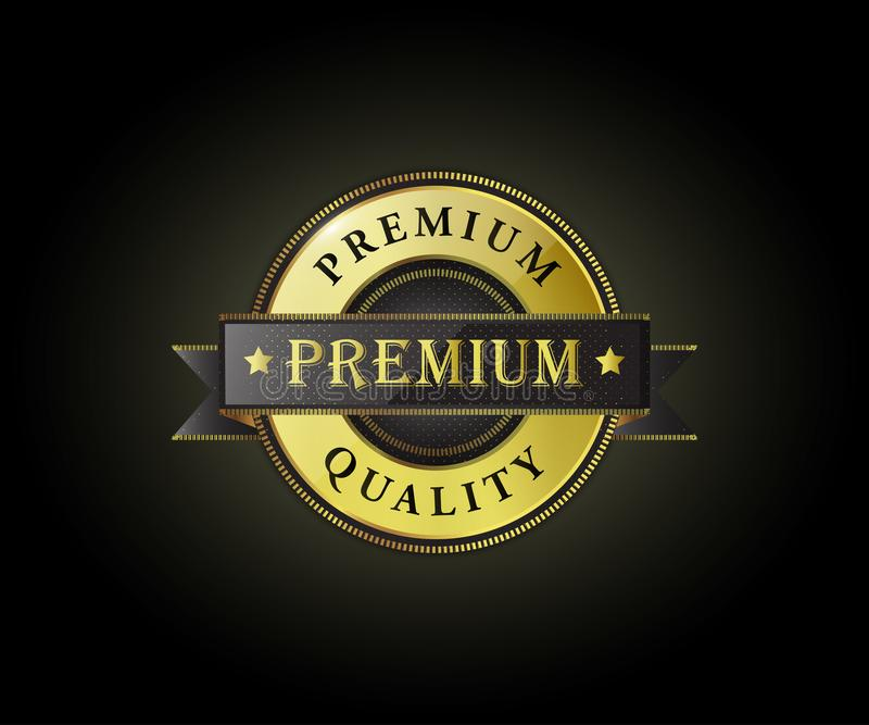 Premium Label high quality with glossy on black background royalty free illustration