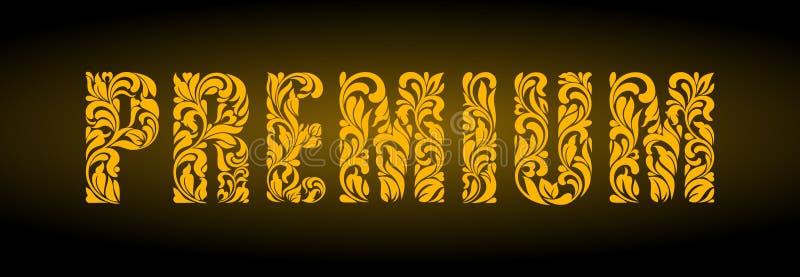 premium Lettres d'or d'un ornement floral sur un fond foncé illustration libre de droits