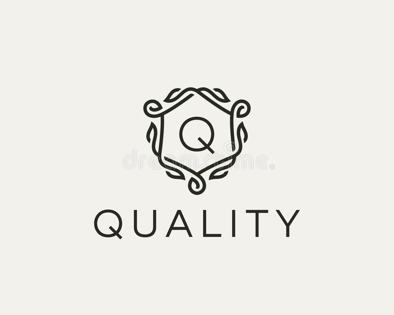 Premium linear shield monogram letter W logotype. Elegant crest leaf stamp icon vector logo. Luxury alphabet frame vector illustration