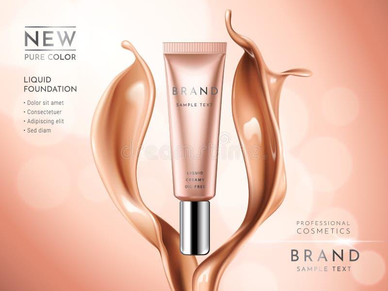 Premium liquid foundation ads. Cosmetic tube with liquid creamy texture on glitter bokeh background. Elegant. Splash of tonal fluid. Vector 3d illustration royalty free illustration