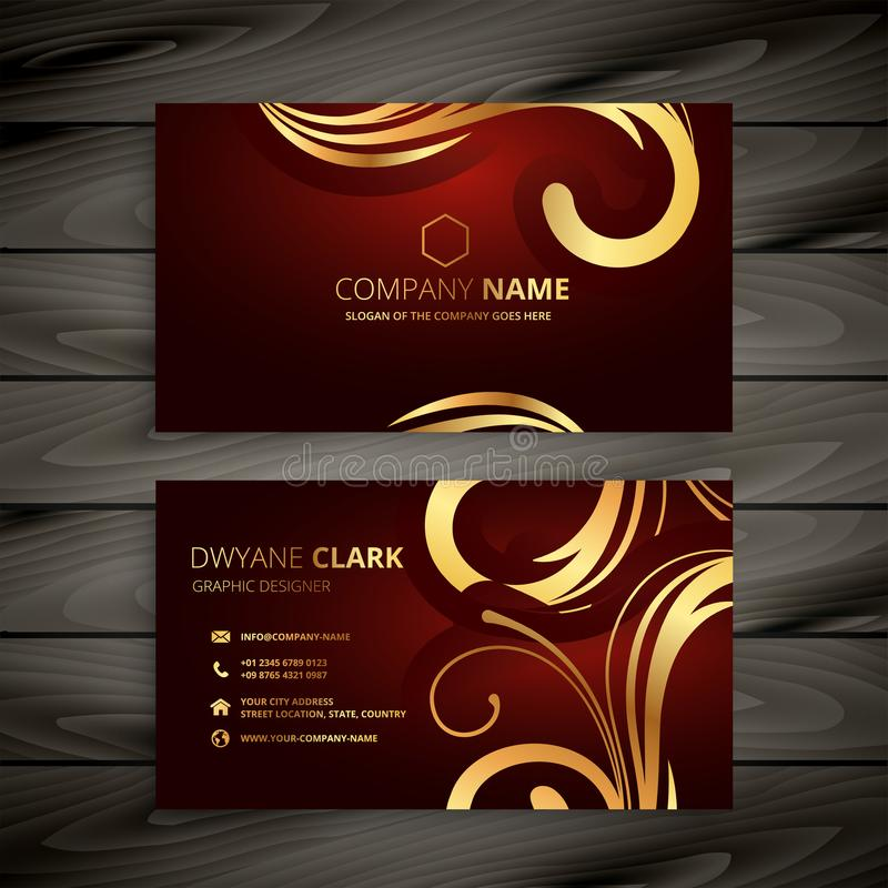 Premium luxury red business card with golden decoration stock illustration