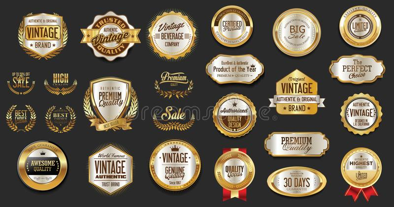 Premium and luxury silver and black retro badges and labels collection. Design royalty free illustration