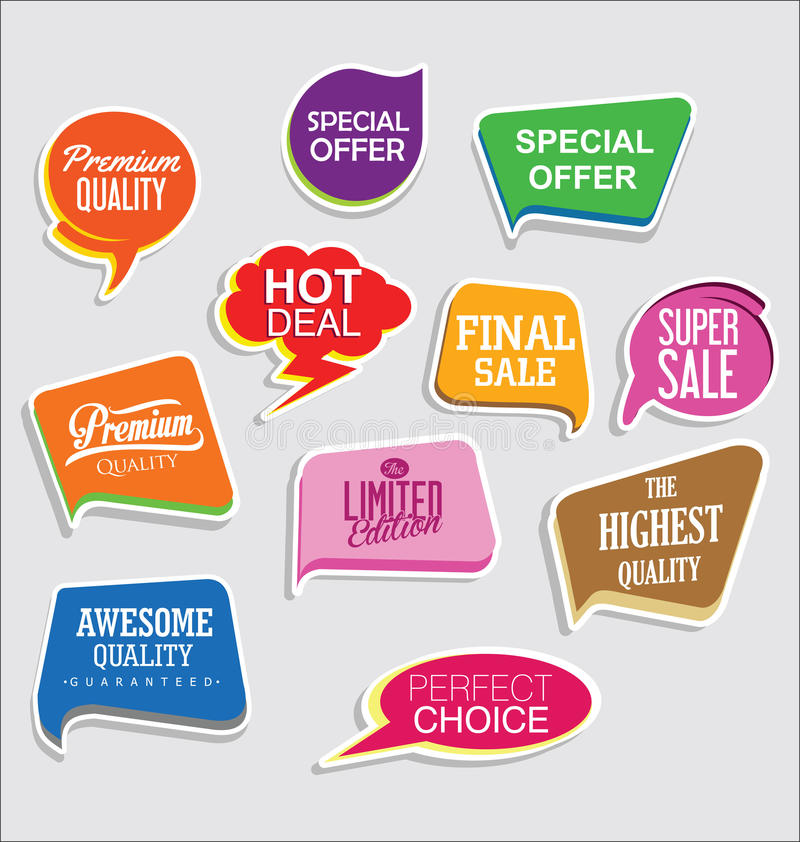 Premium and luxury silver retro badges and labels collectionPromo sale stickers and tags collection modern design. Promo sale stickers and tags collection modern royalty free illustration