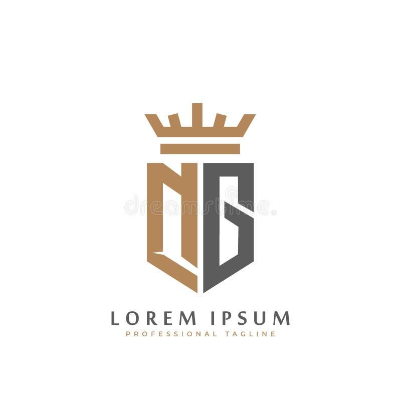 Letter N Crown Golden Premium Logo Design: Gold Elegant Letter G. Graceful Style. Calligraphic