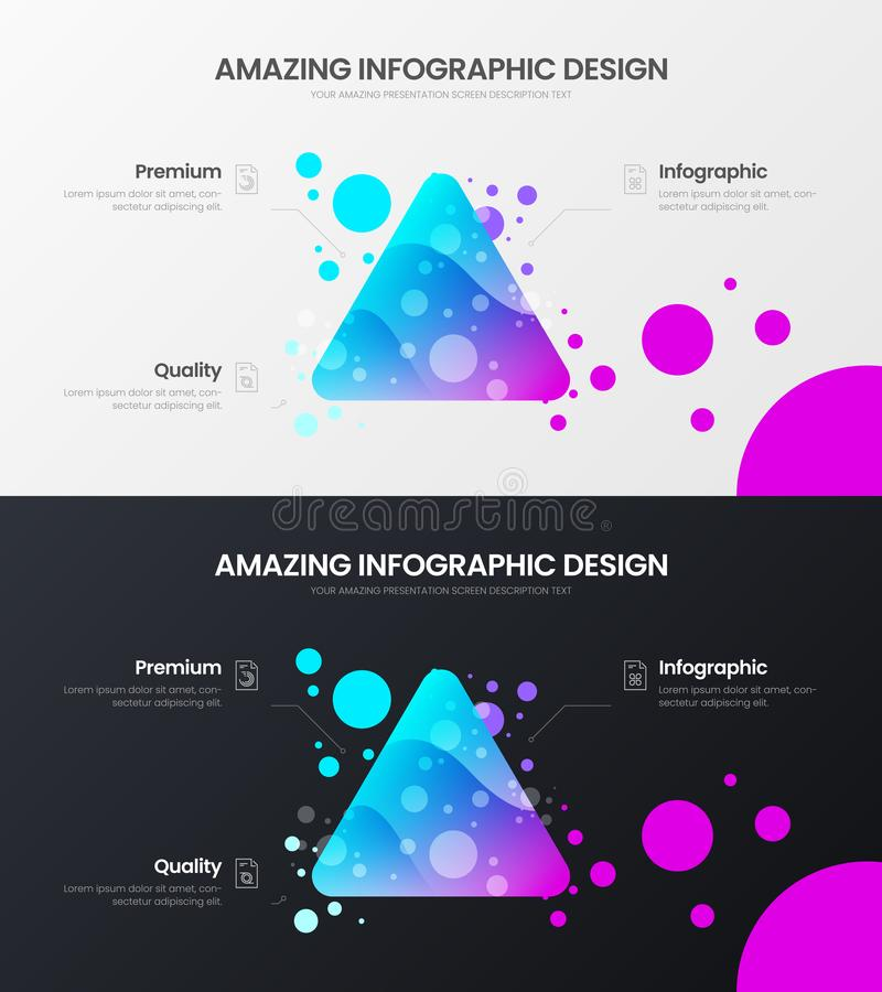3 option triangle marketing analytics presentation vector illustration template. Business data visualization design layout set. Premium 3 option triangle vector illustration