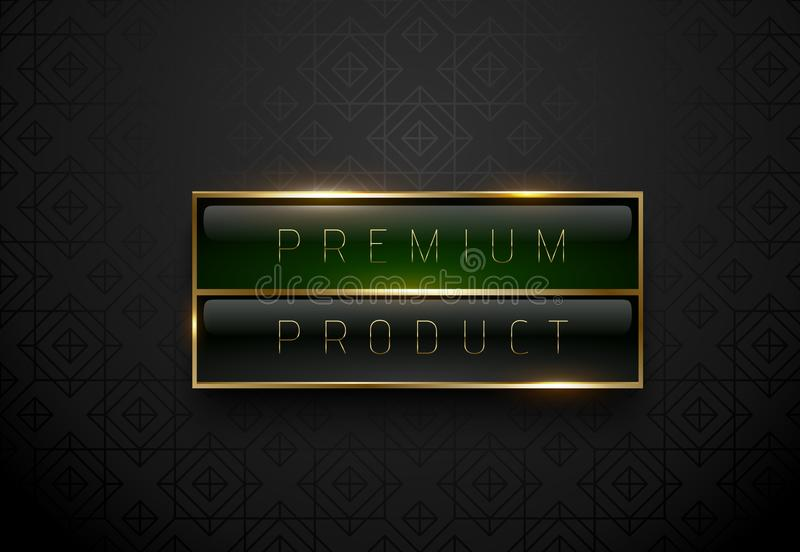 Premium product black green label with golden frame on black geometric background. Dark luxury logo template. Vector illustration. Premium product black green vector illustration