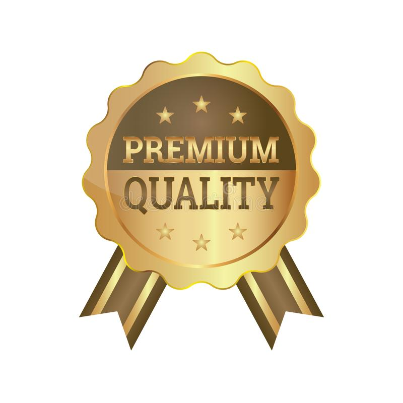 Premium Quality Badge Ribbon Luxury Golden Seal. Design in Gold vector illustration