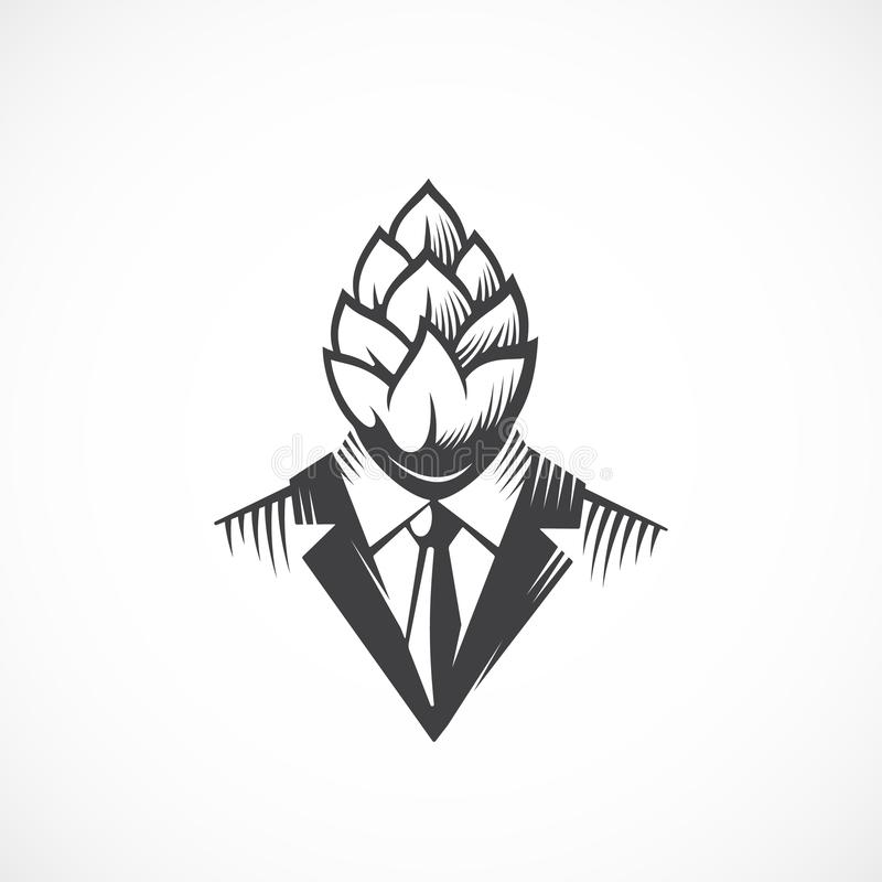 Free Premium Quality Beer Hops Label, Logo Or Illustration. Man In A Suit And Tie With A Hop Face And Head. Creative Concept Stock Photos - 137291243