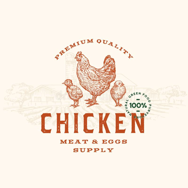 Premium Quality Chicken Meat and Eggs Abstract Vector Sign, Symbol or Logo Template. Hand Drawn Hen and Chicks stock illustration