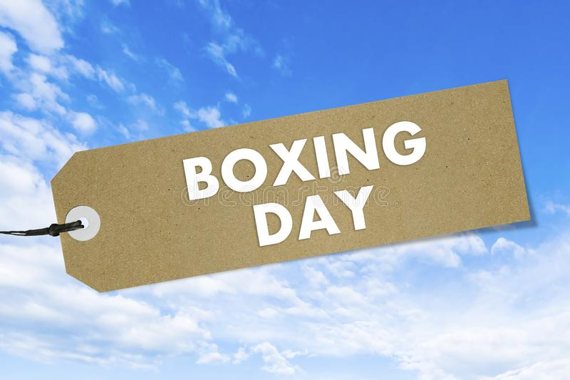 Quality label with text Boxing Day on blue sky background. Mockup stock photography