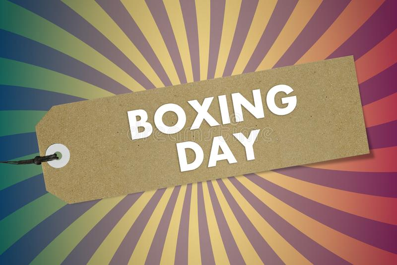 Bio natural label with text Boxing Day on vintage spiral sky background. Mockup royalty free illustration