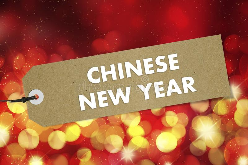 Quality label with text Chinese New Year on red background. Mockup stock photo