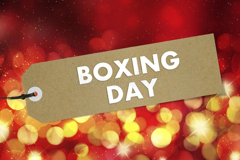 Quality label with text Boxing Day on red  background. Mockup royalty free stock photo