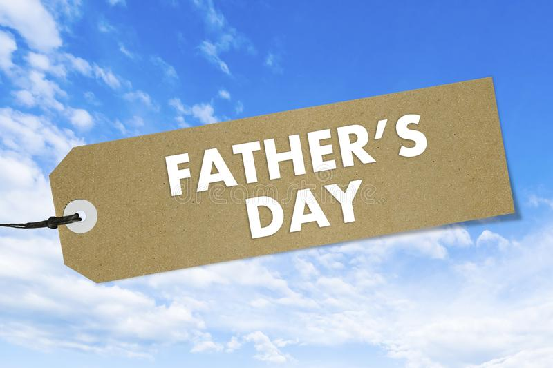 Natural bio label with text Father`s Day on blue sky background. Mockup royalty free stock images